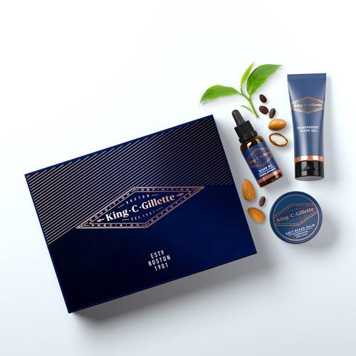 King C. Gillette Men Beard Grooming Kit-Beard Oil, Beard Balmand Transparent Shave Gel; Better,Thicker Beard Growth and Perfect Styling-Premium Gift for Him