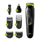 Braun 6-in-1 All-in-one Trimmer 3 MGK3221, Beard Trimmer, Hair Clipper & Face- Ear/Nose Trimmer, 5 attachments, upto 13 length settings, Black/Volt Green, 50 min run time