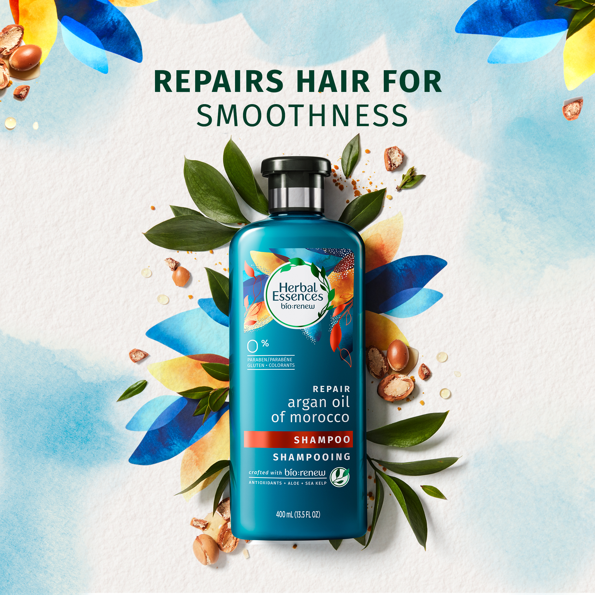 Herbal Essences Bio:Renew  Argan Oil Of Morocco Shampoo, 400Ml |No Parabens No Colourants