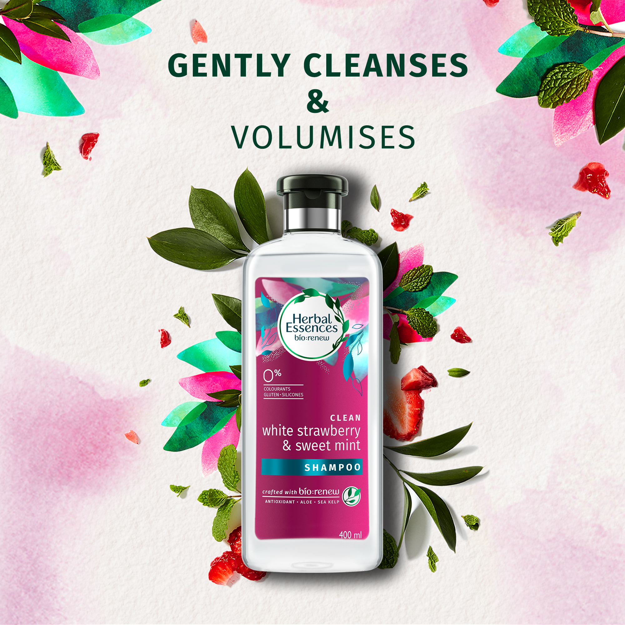 Herbal Essences Bio:Renew White Strawberry & Sweet Mint Shampoo, 400Ml, No Parabens No Colourants