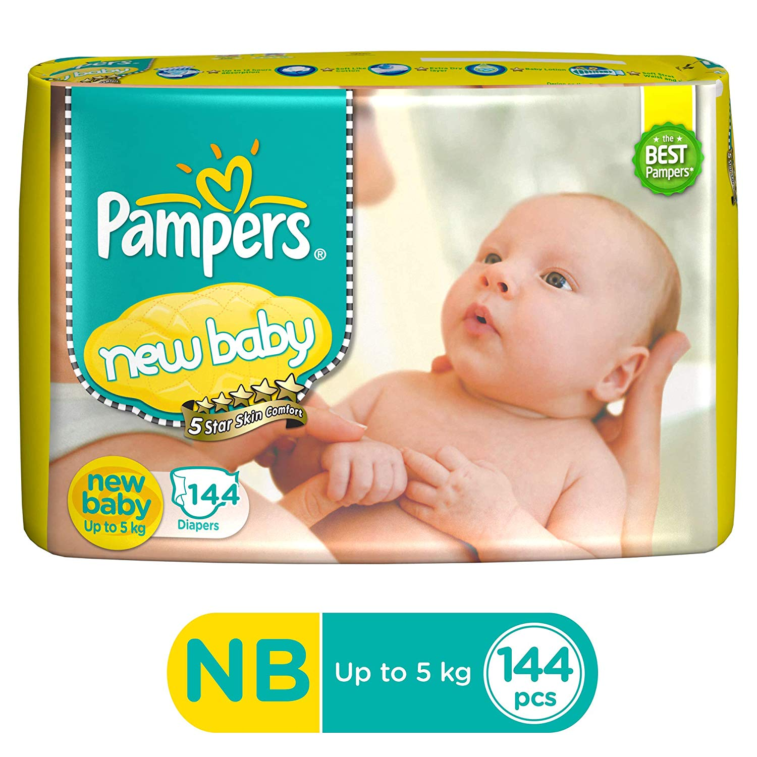 Active Baby Taped Diapers, Newborn (144 Count)