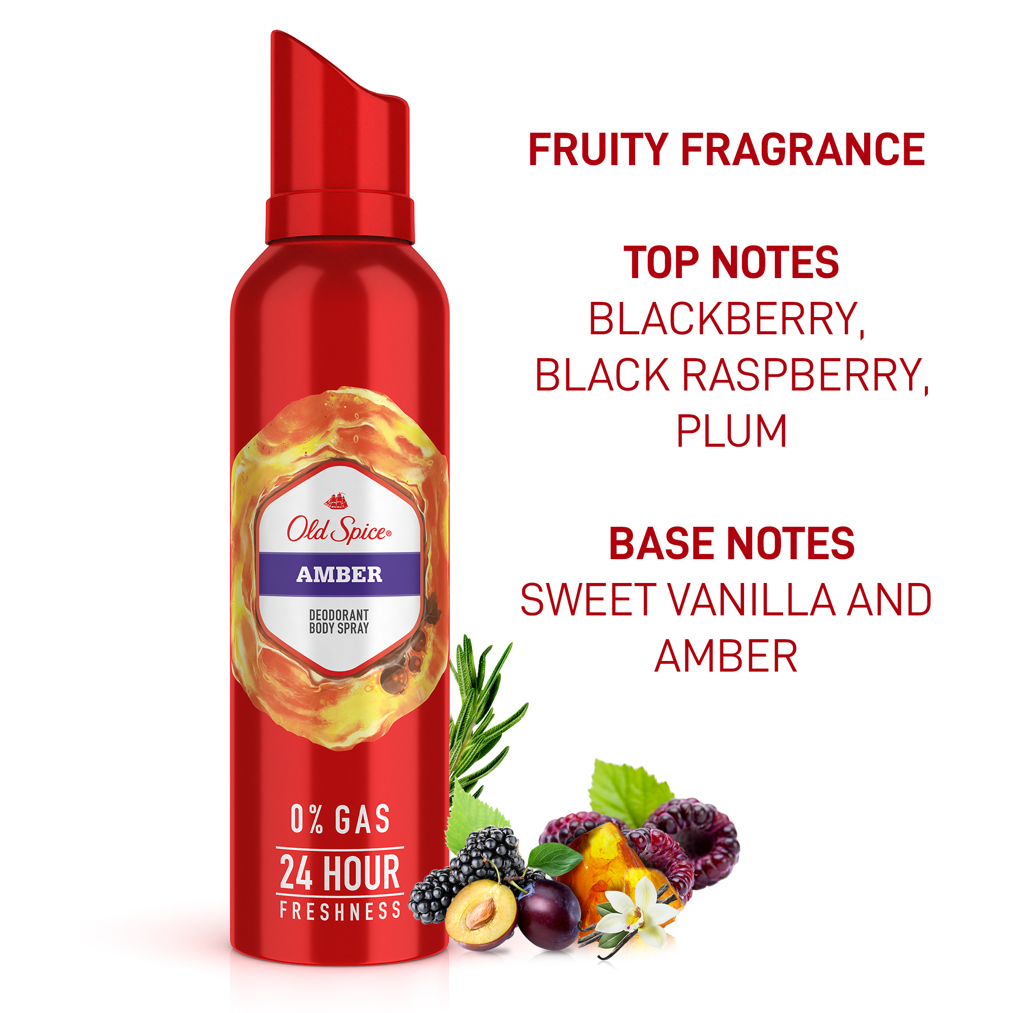 Old Spice Amber No Gas Deodorant Body Spray Perfume, 140 ml