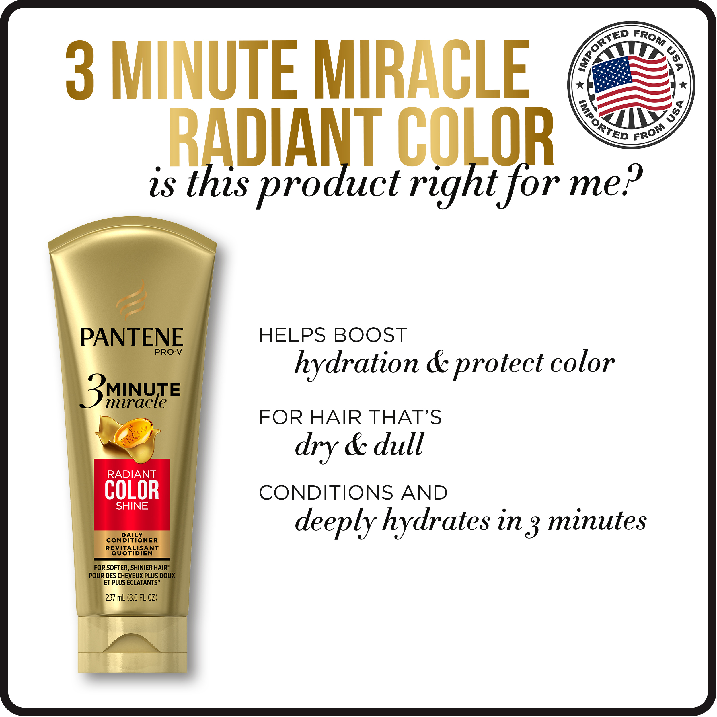 Pantene Radiant Color Shine 3 Minute Miracle Daily Conditioner 180 ml