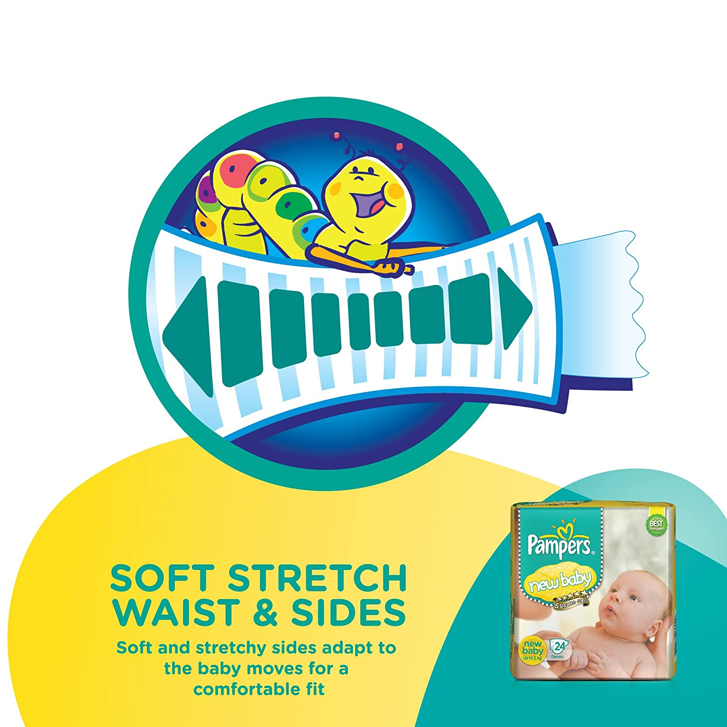 Active Baby Diapers, New Born - 24 Count