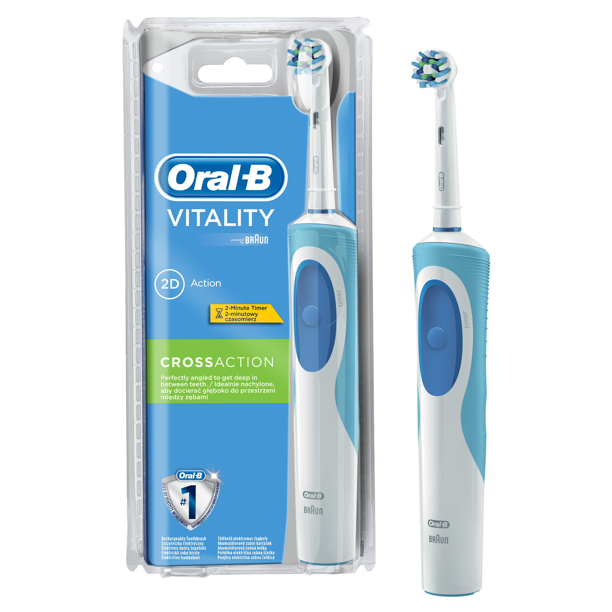 Oral-B Vitality Cross Action Bundle Gift Pack - Electric Toothbrush and Replacement Heads Refills (Pack of 2)