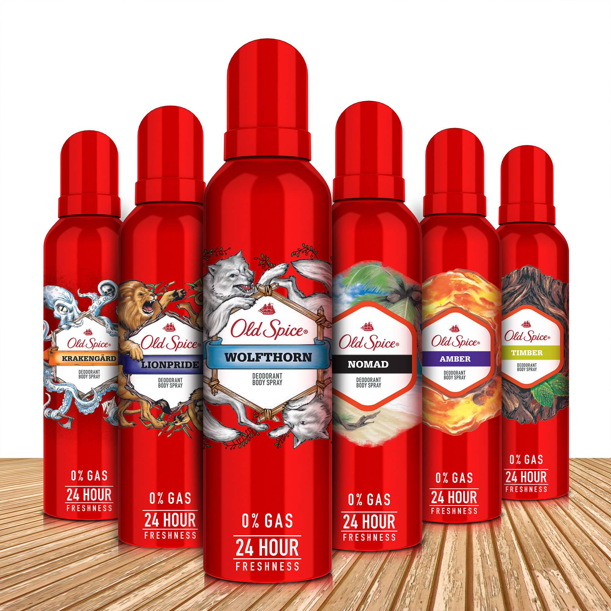 Old Spice Amber and Wolfthorn No Gas Deodorant Body Spray Perfume, 140 ml each