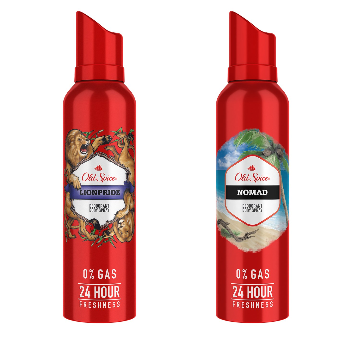 Old Spice Lionpride and Nomad Deodorant Body Spray, 140 ml each