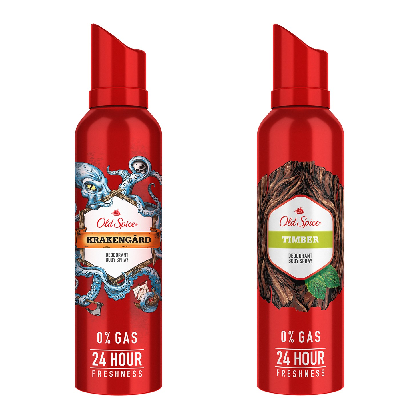 Old Spice Krakengard and Timber Deodorant Body Spray, 140 ml each