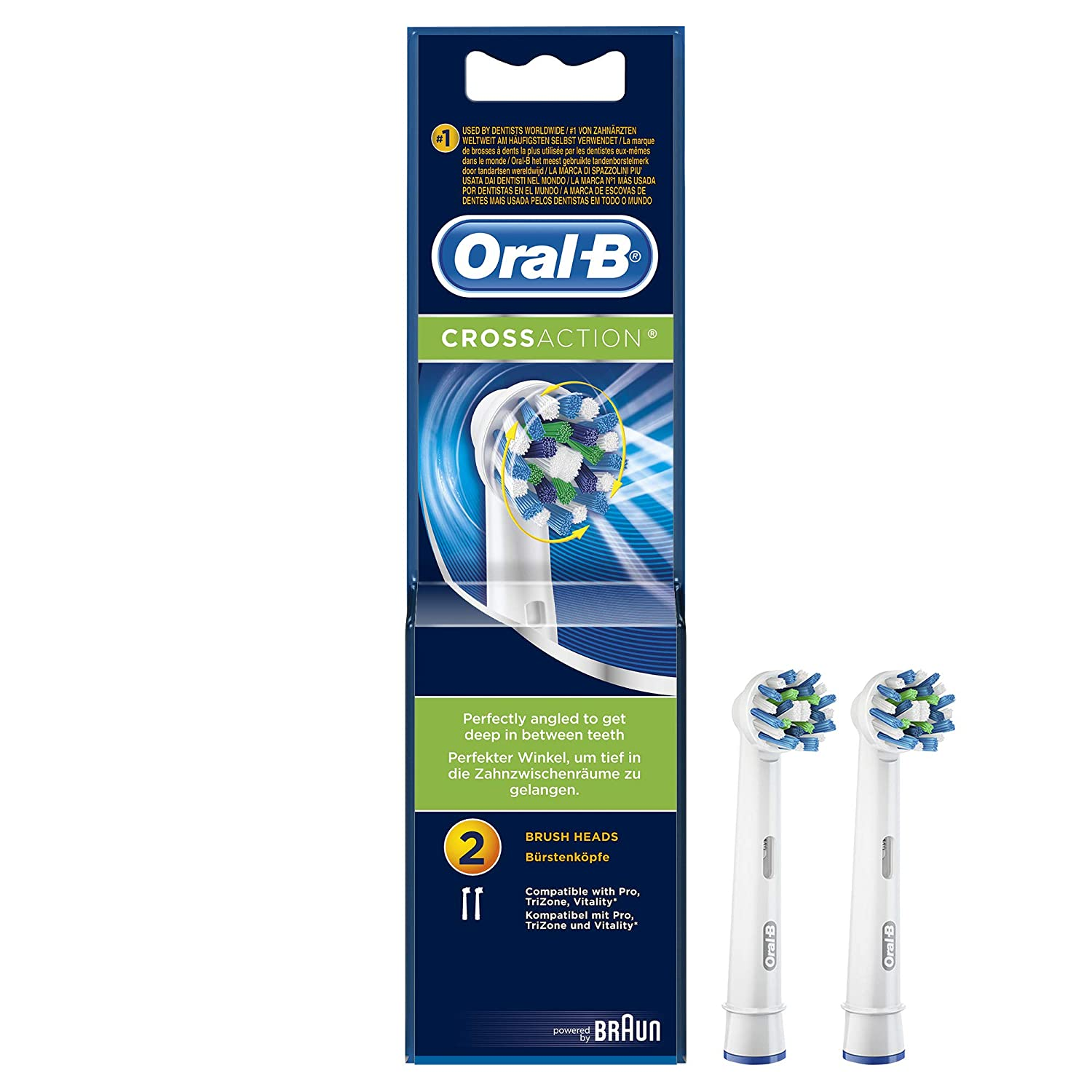 Oral-B Vitality 100 White Criss Cross Bundle Pack - Electric Toothbrush and Replacement Heads Refills_(Pack of 2)