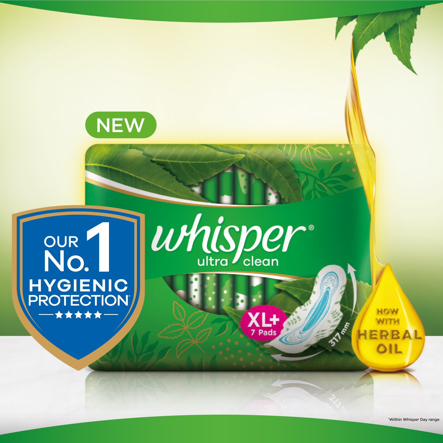 Whisper Ultra Clean Sanitary Pads, XL+ 50 Napkins