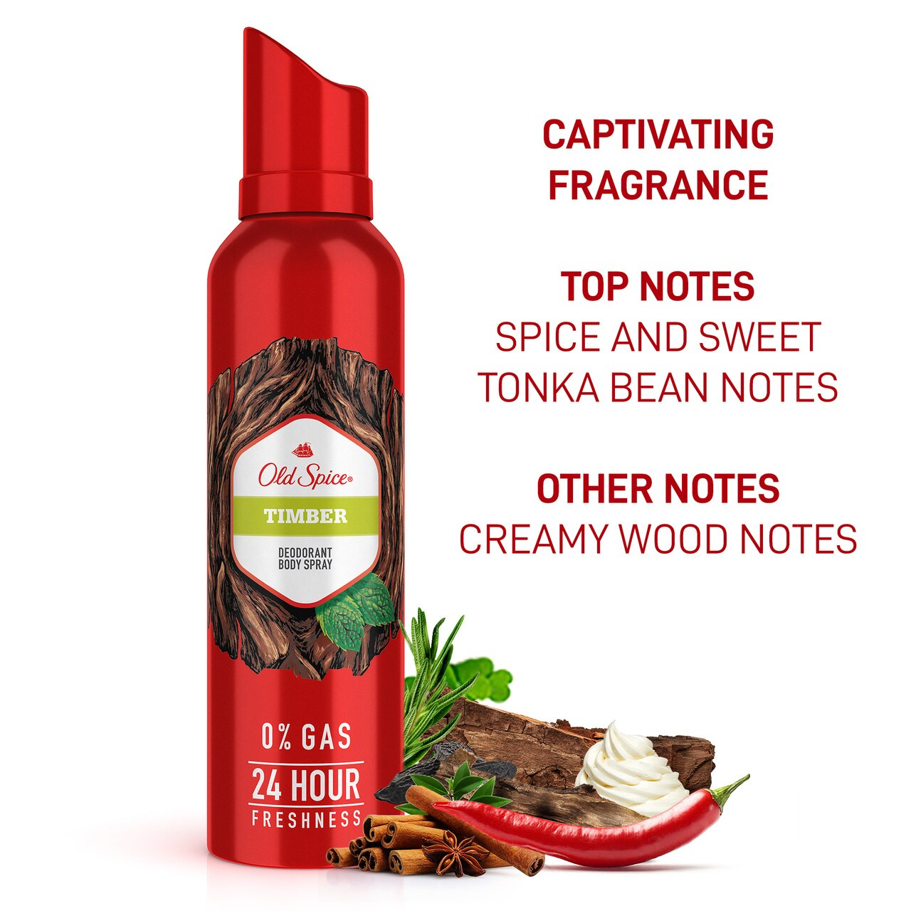 Old Spice- Timber No Gas Deodorant Body Spray Perfume, 140 ml