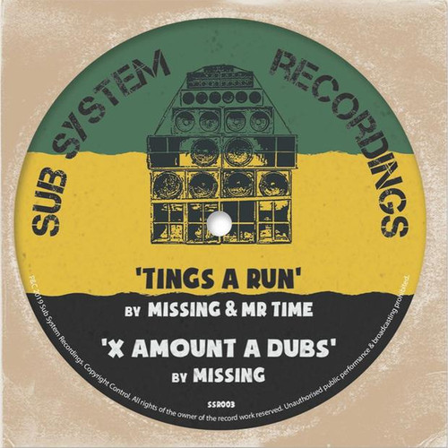 "Missing & Mr Time - Tings a Run / X Amount A Dubs - 10"" Vinyl"