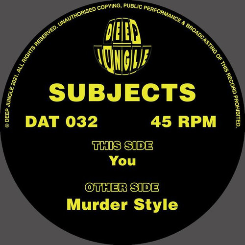 """Subjects - Murder Style / You - 12"""" Vinyl"""