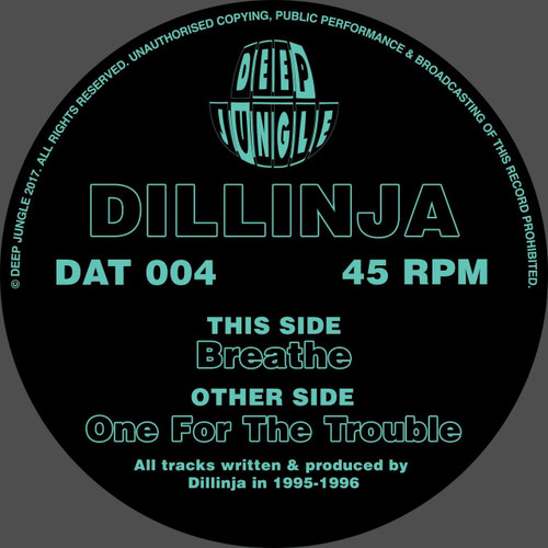 "Dillinja ‎– Breathe / One For The Trouble - Deep Jungle 12"" Vinyl"