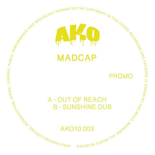 "Madcap - Out of Reach / Sunshine Dub - Yellow 10"" Vinyl"
