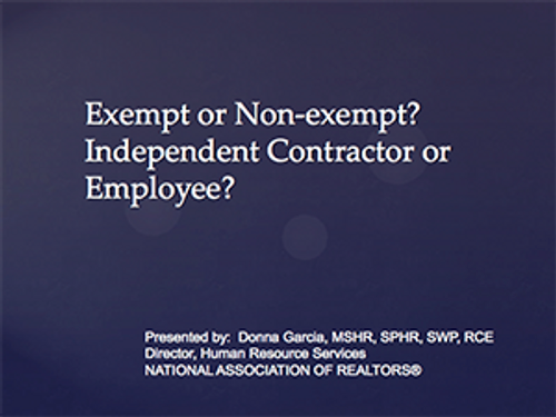 Exempt or Non-Exempt/Independent Contractor or Employee? -Download