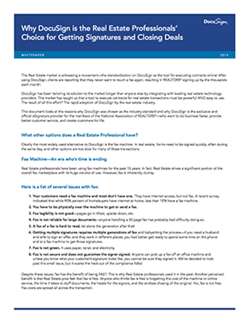 Why DocuSign is the Real Estate Professionals' Choice-Download