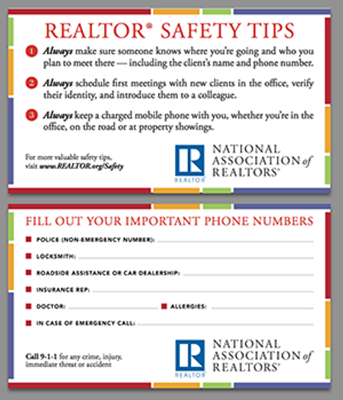 REALTOR® Safety Tips Card (Printed Card)