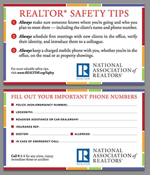 REALTOR® Safety Tips Card (Printed Card)