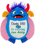 Personalised Message Bear - Blue Monster Cubby