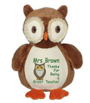 Personalised Message Bear - Owl Embroider Buddy