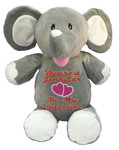 Personalised Message Bear - Elephant Grey Hug-Me Cubby