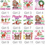 Girls Christmas design choices for the Green Elf