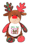 Brown Harlequin Reindeer with a personalised christmas design