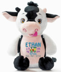 a birth details design on a Signature Cow Cubby