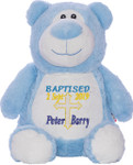 Blue Bear with personalised christening design