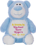 Blue Cubby Bear with personalised christening design embroidered