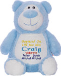 Embroidered Blue bear Cubby Christening design