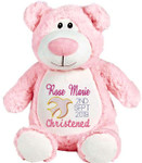 Christening Cubby Pink Bear Cubby
