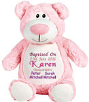 personalised Christening Pink Bear