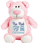 Personalised Christening Cubby Pink Bear