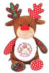 Personalised Harlequin Red Reindeer teddy bear Birth Designs