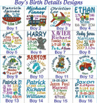 Personalised Harlequin Blue Reindeer Cubby Boys Birth Designs