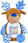 Harlequin blue Reindeer Cubby with personalised Birth Designs