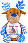 Personalised Harlequin blue Reindeer teddy bear Birth Designs