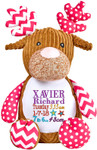 Personalised birth details on a Harlequin Pink Reindeer Cubby