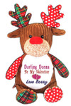 Red Reindeer Cubby Message Bear