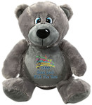 gift Personalised Message Bear - Bebi Beau Grey Bear