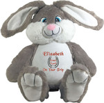 gift Personalised Message Bear - Bebi Beau Grey Bunny