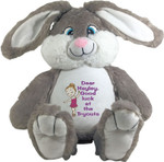 Personalised Message Bear gift - Bebi Beau Grey Bunny
