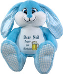 Personalised  Bebi Beau Blue Message gift Bunny