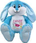 gift Personalised Blue Bebi Beau Bunny Birth Designs