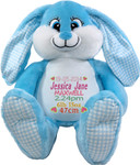 Personalised gift Blue Bebi Beau Bunny Birth Designs
