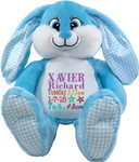 Personalised Blue Bebi Beau gift Bunny Birth Designs