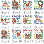 Boys Christmas design choices for the White Unicorn Bebi Beau