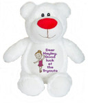 Personalised Message Bear - White Bear Hug-Me Cubby